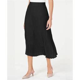 Alfani Pleated Midi Skirt, Created For Macy's - Deep Black