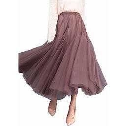 La Hiebla Women High Waist Lace Mesh Tulle Long Skirt Layered Maxi Skirt, Women's, Size: One Size, Green
