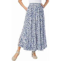 Plus Size Women's Pull-On Elastic Waist Soft Maxi Skirt By Woman Within In Evening Blue Confetti Floral (28 WP)