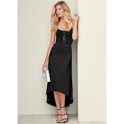 Women's Plus Size Belted High Low Maxi Skirt - Black, Size 1X By Venus