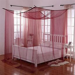 Palace 4-Poster Bed Canopy In Burgundy - Epoch Hometex Inc. - Bed Curtains & Canopies - Bed Canopy - Burgundy
