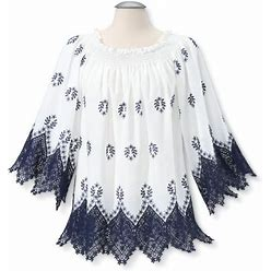 Lace Trimmed Peasant Tunic Top In White/Navy Blue Size Small Cotton By Sagefinds