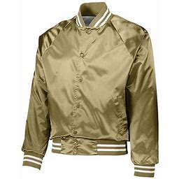 Augusta Sportswear - New MF Men - Satin Baseball Jacket Striped Trim, Men's, Size: XS, Yellow