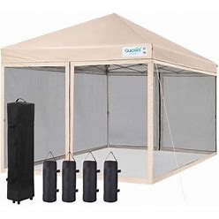 Quictent 8X8 Ez Pop Up Canopy Screen House With Netting Instant Outdoor Canopy Tent Mesh Sideswalls, Roller Bag & Sand Bags Included (Tan), Size: 8 X