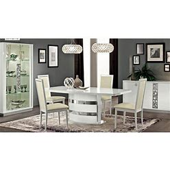 Dining Room Set 5 Pcs High Gloss Pure White Made In Italy ESF Roma Contemporary