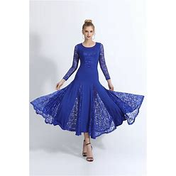 Ballroom Dance Dance Costumes Dress Lace Women's Training Performance Long Sleeve Natural Lace Milk Fiber Blue M 00005
