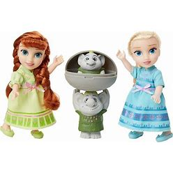 Disney Frozen Petite Anna & Elsa Dolls With Surprise Trolls Gift Set, Each Doll Is Approximately 6 Inches Tall - Includes 2 Troll Friends! Perfect