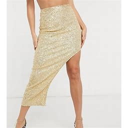Club L London Tall Sequin Maxi Skirt In Light Gold - Gold (size: 6)