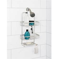 Satin Chrome Shower Caddy With 2 Shelves, Zenna Home Neverrust Over-The-Showerhead Size: 11 Inch W X 24.6 Inch H X 4.8 Inch D, Silver