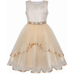 Sunny Fashion Flower Girl Dress Ivory Wedding Party Bridesmaid Dress 12 Years, Girl's, Beige