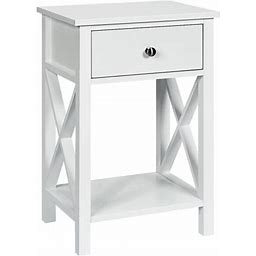 Costway Nightstand Chair Side End Table With Drawer & Shelf Bedroom Furniture White, Size: Small