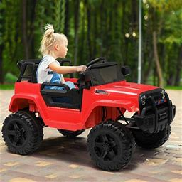 Zimtown Safety 12V Battery Electric Remote Control Car, Kids Toddler Ride On Truck Toy Motorized Vehicles, Wheels Suspension, Seat Belts, LED Lights