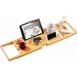 Bamboo Bathtub Caddy Tray, Expandable Bath Tray For Tub With Upgraded Wine Slots And Book Holder - Ideal For One Or Two Person Use