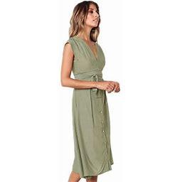 FNAC Women Sleeveless Casual Dress Wave Point Dot Print Round-neck Knee-length Loose Chiffon Dress, Women's, Size: Large, Green
