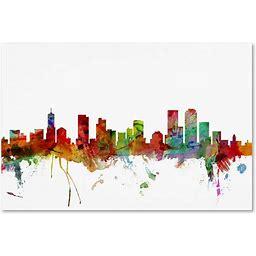 Denver Colorado Skyline By Michael Tompsett, 12X19-Inch Canvas Wall Art