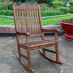 International Caravan Highland Porch Solid Acacia Wood Rocking Chair - Brown