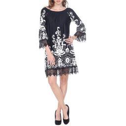 White Mark Women's Vintage Printed Off The Shoulder Mini Dress Black Size:XL