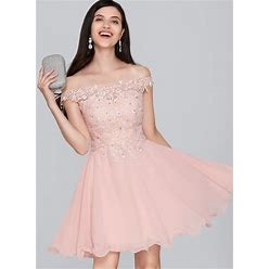 Jjshouse A-Line Off-The-Shoulder Short Mini Chiffon Homecoming Dress With Beading Sequins