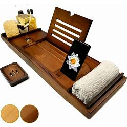 Blooming Lily Bathtub Tray - Sturdily Designed Bath Caddy With Wine Glass Holder, Wooden Bamboo Rest iPad Stand And More Suitable For Most Baths