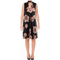 Aqua Womens Velvet Floral Print Party Dress, Women's, Size: XS, Black