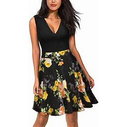 Vista Women's Casual Flare Floral Contrast Evening Party Mini Dress, Size: XL, Yellow
