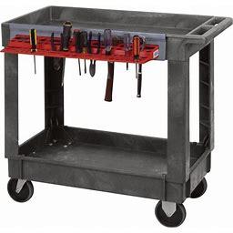 Quantum Industrial-Strength 2-Shelf Plastic Cart - Tool Holder, Model PC4026-33TR