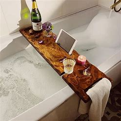 Wooden Bath Caddy, Tray With Wine Holder Live Edge Solid Character Rustic Pippy Wood Bespoke Rustic Bath Caddy Bath Board Bath Tray Bathtub