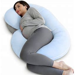 Pharmedoc Pregnancy Pillow With Soft Jersey Cover - C Shaped Body Pillow For Pregnant Women - Baby Blue, Size: 57(Large)_x_30(w)_x_7(h)