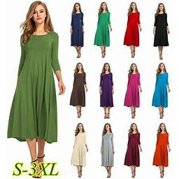 Vista Women Spring Vintage Soild Midi Dress Casual O Neck Half Sleeve Elegant Swing Pleated Basic Party Dress Plus Size Dresses, Women's, Size: Medium