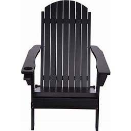 Yohome Products Solid Wood Folding And Reclining Adirondack Chairs Outdoor Beach, Adult,Black, Size: 6.69 X 25.59 X 42.52