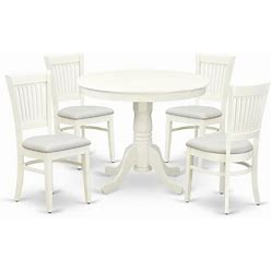East West Furniture Antique 5-Piece Dining Set With Fabric Seat In Linen White - ANVA5-LWH-C