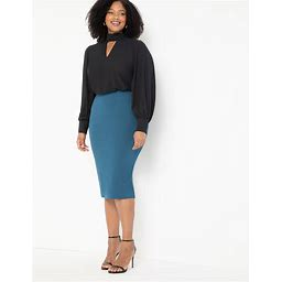 ELOQUII Women's Knit Column Skirt - Dark Blue - Size 24