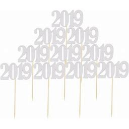 Ounona 10pcs 2019 Number Cake Toppers Birthday New Year Christmas Graduation Anniversary Cupcake Cake Toppers Picks Party Decorations (Silver)