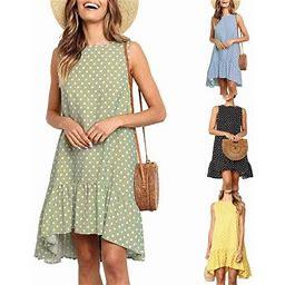 FNAC Women Sleeveless Casual Dress Wave Point Dot Print Round-neck Knee-length Loose Chiffon Dress, Women's, Size: Small, Yellow