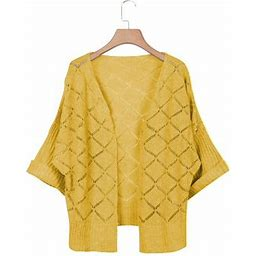Jswift Women's Hollow Out Knit Cardigan Sweater, Size: Small, Yellow