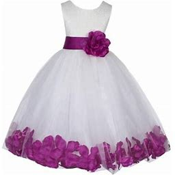 Ekidsbridal Lace Top Floral Petals Ivory Flower Girl Dress Tulle Weddings Summer Easter Dress Special Occasions Pageant Toddler Girl's Clothing