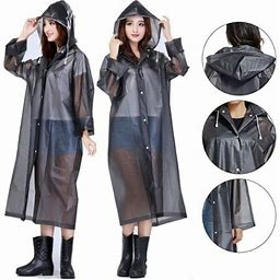UHUSE Men Women EVA Raincoat Hooded Ponchos Jacket Clear Thicker Waterproof Rainwear, Men's, Size: One Size, Black