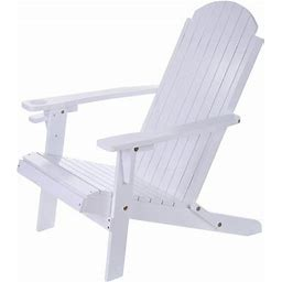 Solid Wood Folding And Reclining Adirondack Chairs Outdoor Beach, Adult,White