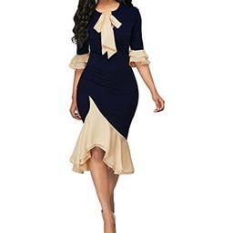 Madjtlqy Womens Formal Bodycon Dress Formal Ball Gown Bridesmaid Midi Dresses, Women's, Size: 4XL, Blue