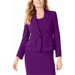 Kasper Womens Crepe One Button Blazer Jacket, Women's, Size: 8, Purple