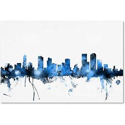 Denver Colorado Skyline II By Michael Tompsett, 12X19-Inch Canvas Wall Art