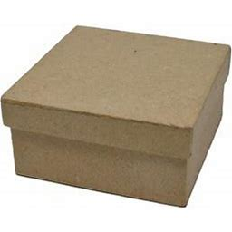 Diy Paper Mache Square Gift Box, Natural, 3-1/4-Inch