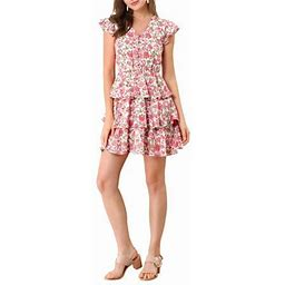 Allegra K Women's V Neck Button Front Layered Cap Sleeve Ruffle Summer Floral Mini Dress, Size: XS, Pink