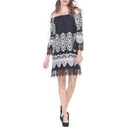 White Mark Women's Printed Off The Shoulder Mini Dress, Size: Large, White