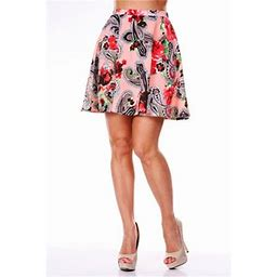 White Mark 700-52-S Paisley Heidi Flare Skirt, Coral - Small, Women's