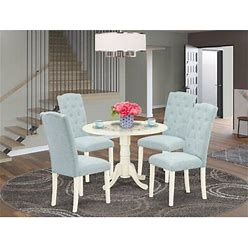 Winston Porter Ashville 5 - Piece Drop Leaf Rubberwood Solid Wood Dining Set Wood/Upholstered Chairs In White, Size 29.5 H In | Wayfair