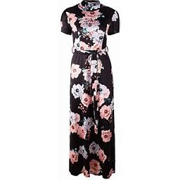 Vista Women Fashion Short Sleeve Printed Dress Casual Round Collar Maxi Party Long Dress, Women's, Size: Medium, Black