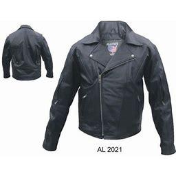 Men's 48 Size Motorcycle Zip Out Liner Vented Front Back & Sleeves Buffalo Hide Biker Jacket, Black