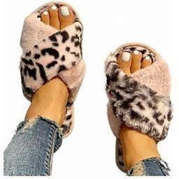Wodstyle Women's Leopard Plush Slippers Shoes Comfort Flat Peep Toe Beach Soft Sandals, Size: US 9-9.5, Pink