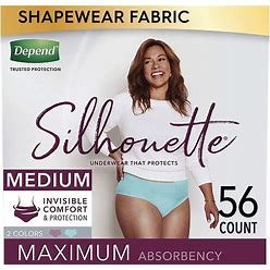 Depend Silhouette Incontinence And Postpartum Underwear For Women, Maximum Absorbency, Disposable, Medium, Berry And Teal, 56 Count (2 Packs Of 28)